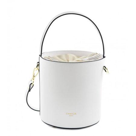 カメリアローマ【CAMELIA ROMA】サフィアーノレザー バケットバッグ ショルダー「SECCHIELLO_0018_BI」ホワイト 白